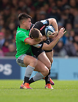 Exeter Chiefs' Joe Simmonds is tackled by Harlequins' Marcus Smith<br /> <br /> Photographer Bob Bradford/CameraSport<br /> <br /> Gallagher Premiership - Exeter Chiefs v Harlequins - Saturday 27th April 2019 - Sandy Park - Exeter<br /> <br /> World Copyright © 2019 CameraSport. All rights reserved. 43 Linden Ave. Countesthorpe. Leicester. England. LE8 5PG - Tel: +44 (0) 116 277 4147 - admin@camerasport.com - www.camerasport.com