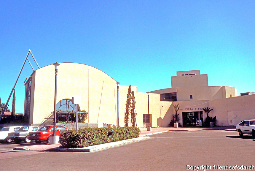 Rob W. Quigley: Linda Vista Public Library. Wide-angle of North Wing to left, entrance to right. Photo '97.