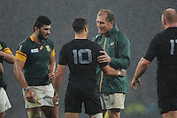 Schalk Burger of South Africa talk with Dan Carter of New Zealand at the end of the Semi Final of the Rugby World Cup 2015 between South Africa and New Zealand - 24/10/2015 - Twickenham Stadium, London<br /> Mandatory Credit: Rob Munro/Stewart Communications