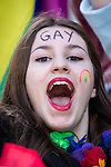 """© Joel Goodman - 07973 332324 . 23/08/2014 .  Manchester , UK . Face in the crowd . The parade through Manchester City Centre . Manchester Pride """" Big Weekend """" in Manchester """" today ( 23rd August 2014 ) . Photo credit : Joel Goodman"""