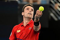 10th January 2020; Sydney Olympic Park Tennis Centre, Sydney, New South Wales, Australia; ATP Cup Australia, Sydney, Day 8; Belgium versus Spain; Kimmer Coppejans of Belgium versus Roberto Bautista Agut of Spain; Roberto Bautista Agut of Spain tosses the ball before serving to Kimmer Coppejans of Belgium - Editorial Use