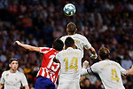 Stefan Savic of Atletico de Madrid and Carlos Henrique Casimiro of Real Madrid during La Liga match between Atletico de Madrid and Real Madrid at Wanda Metropolitano Stadium{ in Madrid, Spain. {iptcmonthname} 28, 2019. (ALTERPHOTOS/A. Perez Meca)