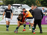 Ealing's Alex Walker practices a tackle during the Greene King IPA Championship match between Ealing Trailfinders and Bedford Blues at Castle Bar , West Ealing , England  on 29 October 2016. Photo by Carlton Myrie / PRiME Media