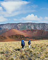 Two male hikers with backpacks walking toward a colorful cinder cone inside the crater of HALEAKALA NATIONAL PARK on Maui in Hawaii USA