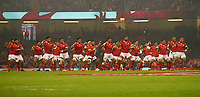 Tonga perform the Haka prior to kick off <br /> <br /> Photographer Ian Cook/CameraSport<br /> <br /> Under Armour Series Autumn Internationals - Wales v Tonga - Saturday 17th November 2018 - Principality Stadium - Cardiff<br /> <br /> World Copyright © 2018 CameraSport. All rights reserved. 43 Linden Ave. Countesthorpe. Leicester. England. LE8 5PG - Tel: +44 (0) 116 277 4147 - admin@camerasport.com - www.camerasport.com