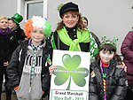 Mary Duff, Grand Marshal of the St Patrick's day parade pictured with Joseph and Leanne Gosling. Photo:Colin Bell/pressphotos.ie