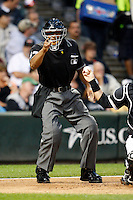 August 7, 2009: Home plate umpire CB Bucknor during a Major League Baseball game at U.S. Cellular Field in Chicago, IL.  Photo By Mike Janes/Four Seam Images
