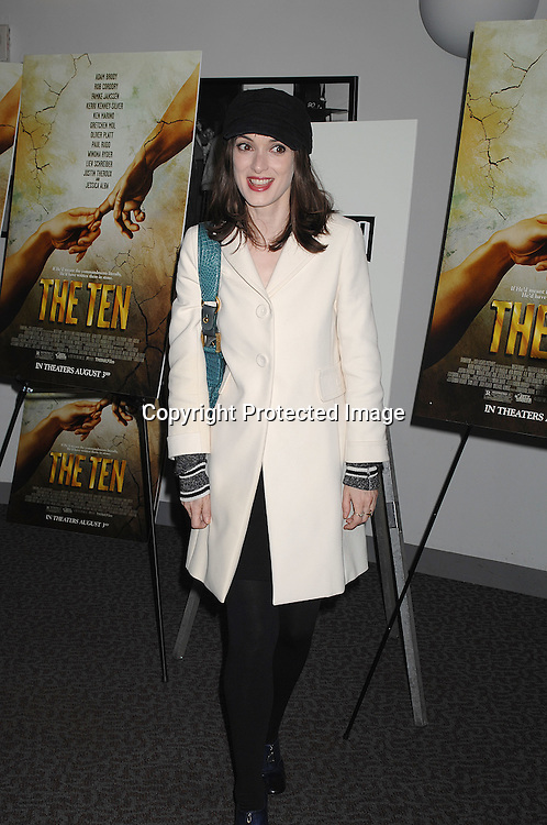"Winona Ryder ..posing for photographers at The New York Premiere of..""The Ten"" on July 23, 2007 at The DGA Theatre in New York City. ..Robin Platzer, Twin Images....212-935-0770"
