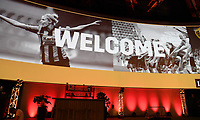 20190827 – BRUSSELS , BELGIUM : illustration picture shows Welcome on the Women's Football Summit stage during the women 's Football Summit , a summit where the Belgian Football Association KBVB uncover their plans for the future of women soccer in Belgium , tuesday 27 th August 2019 at the Brussels Expo Auditorium 2000  , Belgium  .  PHOTO SPORTPIX.BE   DAVID CATRY