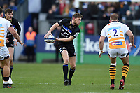 Rhys Priestland of Bath Rugby looks to pass the ball. Heineken Champions Cup match, between Bath Rugby and Wasps on January 12, 2019 at the Recreation Ground in Bath, England. Photo by: Patrick Khachfe / Onside Images