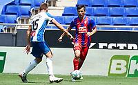 12th July 2020; RCDE Stadium, Barcelona, Catalonia, Spain; La Liga Football, Real Club Deportiu Espanyol de Barcelona versus Sociedad Deportiva Eibar;  Takashi Inui looks to go past David Lopez of Espanyol