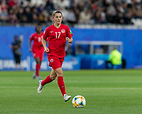 GRENOBLE, FRANCE - JUNE 15: Jessie Fleming #17 of the Canadian National Team dribbles at midfield during a game between New Zealand and Canada at Stade des Alpes on June 15, 2019 in Grenoble, France.