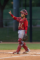 AZL Angels catcher Jeans Flores (62) during an Arizona League game against the AZL Dodgers at Camelback Ranch on July 8, 2018 in Glendale, Arizona. The AZL Dodgers defeated the AZL Angels by a score of 5-3. (Zachary Lucy/Four Seam Images)