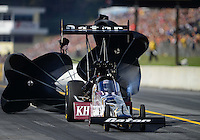 Oct. 6, 2012; Mohnton, PA, USA: NHRA top fuel dragster driver Shawn Langdon during qualifying for the Auto Plus Nationals at Maple Grove Raceway. Mandatory Credit: Mark J. Rebilas-