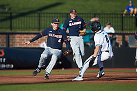 Illinois Fighting Illini third baseman Cam McDonald (4) prepares to tag Nick Lucky (6) of the Coastal Carolina Chanticleers at Springs Brooks Stadium on February 22, 2020 in Conway, South Carolina. The Fighting Illini defeated the Chanticleers 5-2. (Brian Westerholt/Four Seam Images)