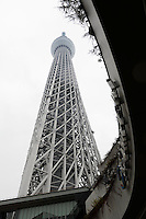 Tokyo Sky Tree, Tokyo, Japan, January 15, 2015. Edokiriko is a style of cut glass that dates back to 1834 and is similar to British cut glass. It makes use coloured glass and highly-intricate Japanese motifs.