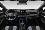 Stock photo of straight dashboard view of a 2019 Hyundai Veloster Base 3 Door Hatchback