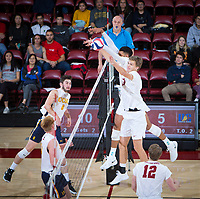 STANFORD, CA - January 5, 2019: Stephen Moye, Jaylen Jasper at Maples Pavilion. The Stanford Cardinal defeated UC Santa Cruz 25-11, 25-17, 25-15.