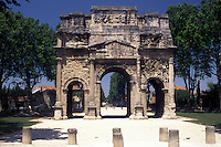 arch, France, Orange, Vaucluse, Provence, Europe, Arc de Triomphe the Roman triumphal arch in the city of Orange.