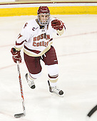 Brian Gibbons (BC - 17) celebrates Brian Dumoulin's goal which gave BC a 2-1 lead 3:17 into the second period. - The Boston College Eagles defeated the visiting Boston University Terriers 5-2 on Saturday, December 4, 2010, at Conte Forum in Chestnut Hill, Massachusetts.