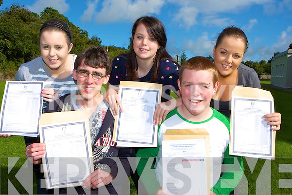 Killarney Community College students l-r: Jean Counihan, Nicolas Doyle, Michelle O'Connor, John Doona and Jennifer O'Keeffe who was delighted with their Leaving Cert results on Wednesday morning