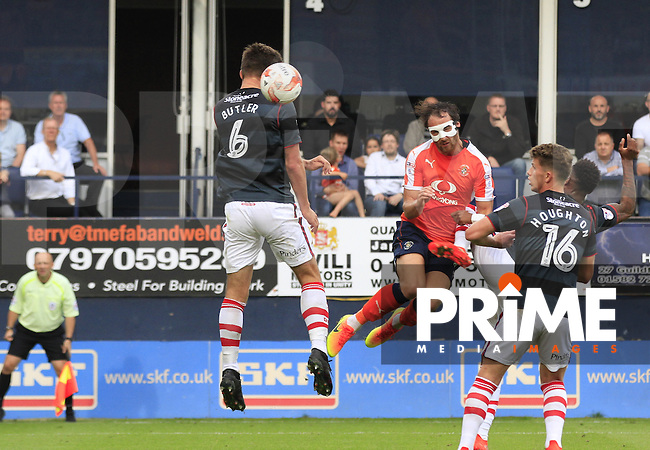 Luton Town striker Danny Hylton goes close with a header during the Sky Bet League 2 match between Luton Town and Doncaster Rovers at Kenilworth Road, Luton, England on 24 September 2016. Photo by Liam Smith.