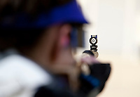 Sarah Beard (cq), with the Texas Christian University Women's Rifle Team, looks through her sight suring a qualifying shooting match at the TCU campus in Ft. Worth, Texas, Saturday, February 12, 2011. The TCU team is undefeated this season and won the national championship last year to become the first all women's team to win the championship...CREDIT: Matt Nager for The Wall Street Journal