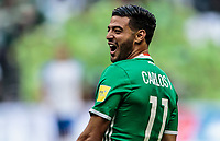 Mexico City, Mexico - Sunday June 11, 2017: Carlos Vela goal celebration during a 2018 FIFA World Cup Qualifying Final Round match with both men's national teams of the United States (USA) and Mexico (MEX) playing to a 1-1 draw at Azteca Stadium.