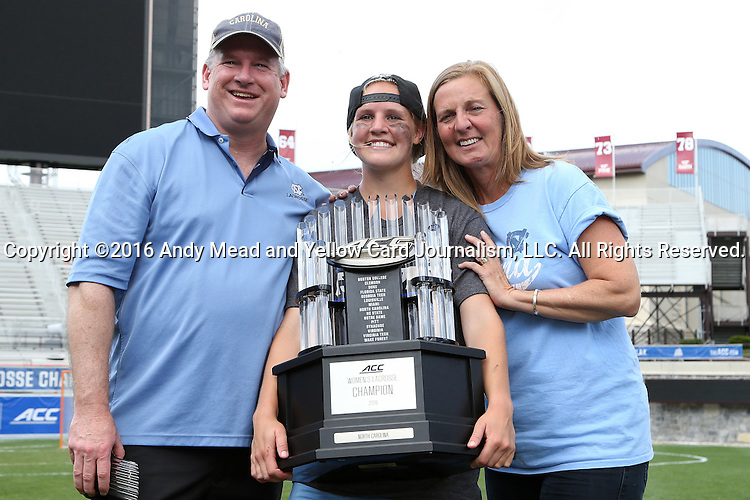 01 May 2016: UNC player with her parents. The University of North Carolina Tar Heels played the Syracuse University Orange at Lane Stadium in Blacksburg, Virginia in the 2016 Atlantic Coast Conference Women's Lacrosse Tournament championship match. North Carolina won 15-14 in overtime.