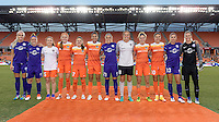 Houston, TX - Saturday Sept. 03, 2016: Olympic participants from Canada, Brazil, Australia, USA Kaylyn Kyle, Josee Belanger, Allysha Chapman, Janine Beckie, Andressa Machry, Poliana Barbosa, Monica Hickman Alves, Lydia Williams, Morgan Brian, Carli Lloyd, Alex Morgan, Ashlyn Harris prior to a regular season National Women's Soccer League (NWSL) match between the Houston Dash and the Orlando Pride at BBVA Compass Stadium.
