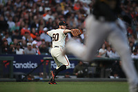 SAN FRANCISCO, CA - AUGUST 11:  Ty Blach #50 of the San Francisco Giants makes a play on a bunt against the Pittsburgh Pirates during the game at AT&T Park on Saturday, August 11, 2018 in San Francisco, California. (Photo by Brad Mangin)