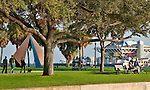 The Vinoy Park in St. Petersburgh, Florida with a sculpture by Rolf Brommelsick (made in 1980) titled Truth and in the background is Tampa Bay and the colorful Pier of St. Petersburgh