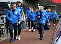 Preston North End manager Alex Neil (R) arrives for the Sky Bet Championship match between Swansea City and Preston North End at the Liberty Stadium, Swansea, Wales, UK. Saturday 11 August 11 2018