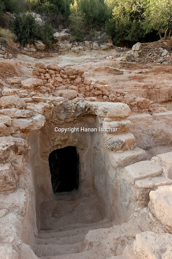 The Judean mountains, Israel. A rock-hewn water system dating back to the time of King Hezekiah, from the eighth century B.C. found in 2005 by Kibbutz Tzuba near Ein Karem<br />
