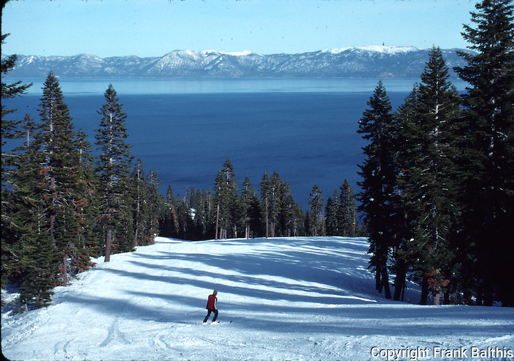 Skier at Homewood Ski Resort near Lake Tahoe