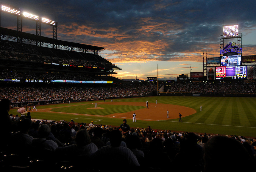 04 August 08: The sun sets over Coors Field in Denver, Colorado during a game between the Washington Nationals and the Colorado Rockies. The Nationals defeated the Rockies 9-4 at Coors Field in Denver, Colorado. FOR EDITORIAL USE ONLY.