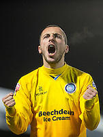 Michael Harriman of Wycombe Wanderers celebrates the win during the Sky Bet League 2 match between Dagenham and Redbridge and Wycombe Wanderers at the London Borough of Barking and Dagenham Stadium, London, England on 9 February 2016. Photo by Andy Rowland.