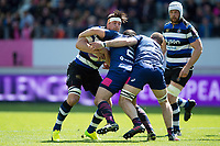 Francois Louw of Bath Rugby takes on the Stade Francais defence. European Rugby Challenge Cup Semi Final, between Stade Francais and Bath Rugby on April 23, 2017 at the Stade Jean-Bouin in Paris, France. Photo by: Patrick Khachfe / Onside Images