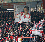 10.02.2018, Stadion an der Wuhlheide, Berlin, GER, 2.FBL, 1.FC UNION BERLIN  VS. Fortuna Duesseldorf, im Bild <br /> Damir Kreilach (1.FC Union Berlin #19) Plakat in der Union-Fanblock (1.FC Union Berlin)<br /> <br />      <br /> Foto &copy; nordphoto / Engler