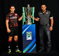 London, England. Edinburgh Rugby Captain Greig Laidlaw (l) poses with Director of Rugby Michael Bradley during the UK Heineken Cup and Amlin Challenge Cup season launch at SKY Studios on October 1, 2012 in London, England.