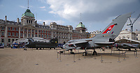 Aircraft on Horse Guards Parade<br /> RAF100 Aircraft Tour: aircraft of the UK RAF / Royal Air Force on display on Horse Guards Parade in front of the Admiralty House, London, England on July 06, 2018.<br /> CAP/SDL<br /> &copy;Stephen Loftus/Capital Pictures