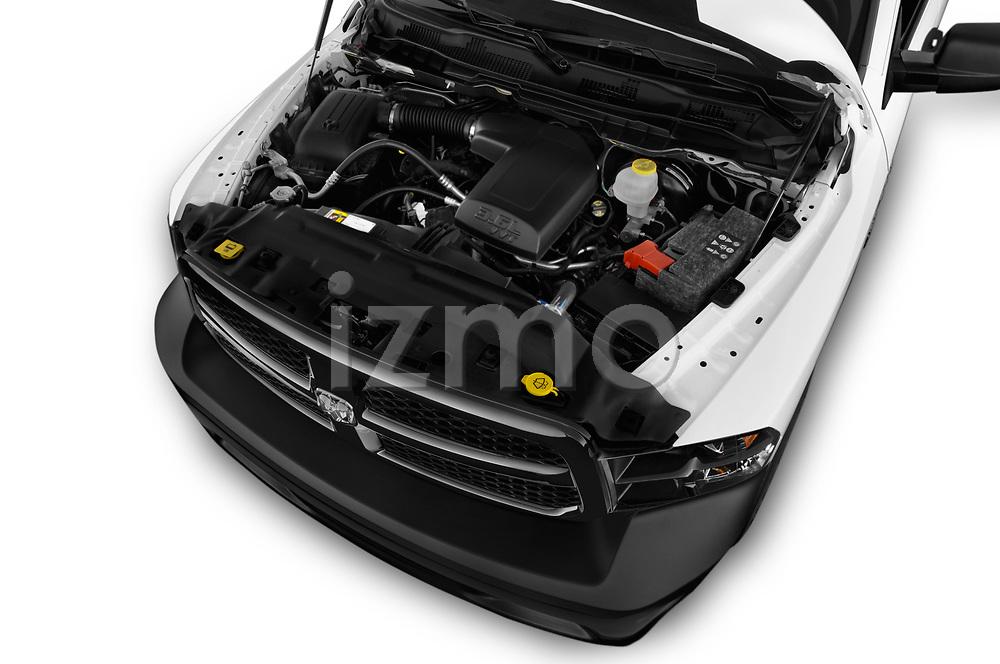Car stock 2017 Ram Ram 1500 Tradesman Crew 4 Door Pick Up engine high angle detail view