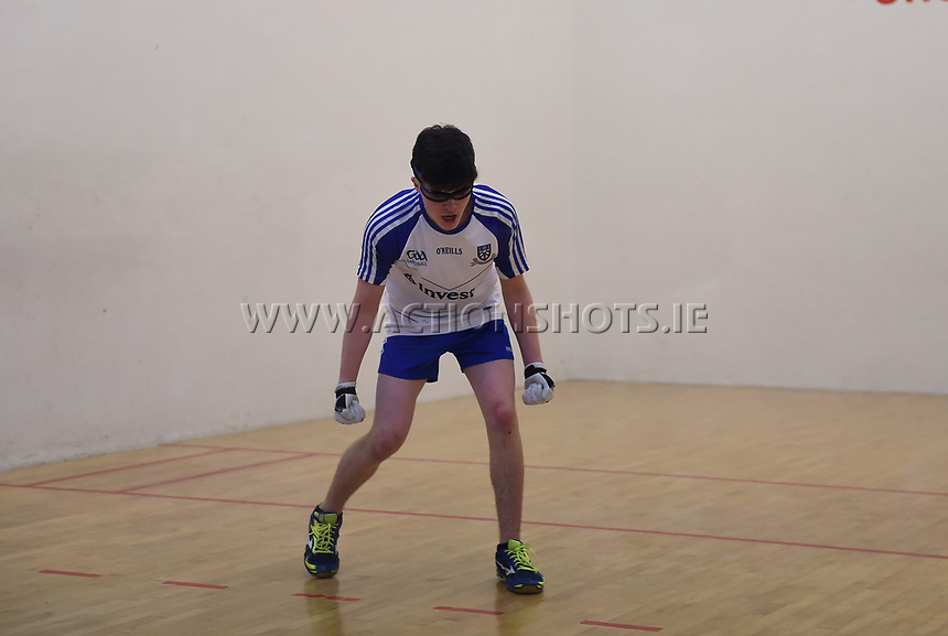 19/03/2018; 40x20 All Ireland Juvenile Championships Finals 2018; Kingscourt, Co Cavan;<br /> Boys Under-16 Singles; Wexford (Josh Kavanagh) v Monaghan (Eoghan McGinnity)<br /> Eoghan McGinnity celebrates after winning.<br /> Photo Credit: actionshots.ie/Tommy Grealy