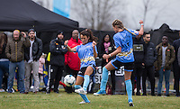 Nancy May Turner (Ex on the Beach) & George Harrison (right) (TOWIE) go for the same ball during the SOCCER SIX Celebrity Football Event at the Queen Elizabeth Olympic Park, London, England on 26 March 2016. Photo by Andy Rowland.