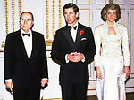 1988; Paris, France: PRINCESS DIANA AND PRINCE CHARLES<br />make an official visit to France.<br />Pictured with French President Francois Mitterand.<br />Mandatory Credit Photo: &copy;Francis Dias/NEWSPIX INTERNATIONAL<br /><br />(Failure to credit will incur a surcharge of 100% of reproduction fees)<br />IMMEDIATE CONFIRMATION OF USAGE REQUIRED:<br />Newspix International, 31 Chinnery Hill, Bishop's Stortford, ENGLAND CM23 3PS<br />Tel:+441279 324672  ; Fax: +441279656877<br />Mobile:  07775681153<br />e-mail: info@newspixinternational.co.uk<br />Please refer to usage terms. All Fees Payable To Newspix International