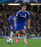 Eden Hazard of Chelsea looks for options during the UEFA Champions League match between Chelsea and Maccabi Tel Aviv at Stamford Bridge, London, England on 16 September 2015. Photo by Andy Rowland.