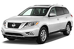Front three quarter view of a 2013 Nissan Pathfinder SUV