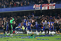 Chelsea players celebrate in front of their fans at the final whistle during Chelsea vs Watford, Premier League Football at Stamford Bridge on 15th May 2017