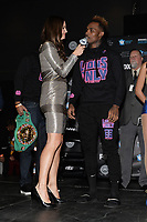 BROOKLYN, NY - DECEMBER 21: Reporter Heidi Androl (l) interviews Jermell Charlo as they attend the Premier Boxing Champions official weigh-in for the December 22 Fox PBC Fight Night at the Barclay Center on December 21, 2018 in Brooklyn, New York. (Photo by Anthony Behar/Fox Sports/PictureGroup)