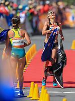 New Zealand's Alana Barber takes silver in the womens 20km race walk, Commonwealth Games, Gold Coast, Australia. Sunday 8 April, 2018. Copyright photo: John Cowpland / www.photosport.nz